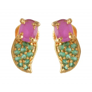 Green with Ruby Stone Stud