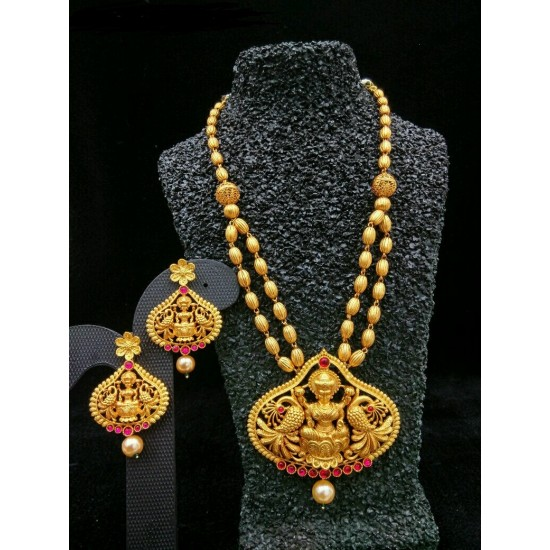 Temple Jewellery - Necklace with Earring -  Red Kundan Stone
