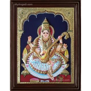 Saraswathi Double Emboss Tanjore Painting