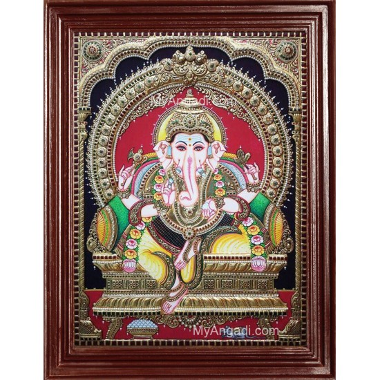 Ganesha Embossed Tanjore Painting, Traditional Ganesh Tanjore Painting