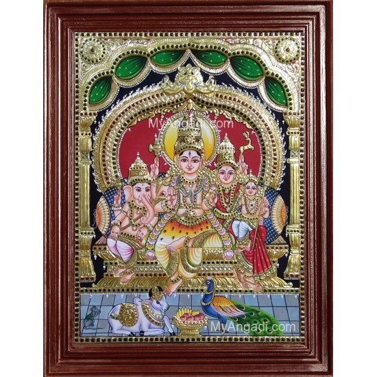 Shiva Durbar Embossed Tanjore Painting, Traditional Shiva, Parvathi, Ganesh and Murugan Tanjore Painting