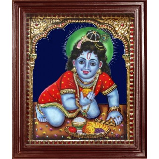Baby Krishna Super Emboss Tanjore Painting