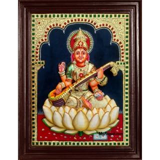 Saraswati Super Emboss Tanjore Painting