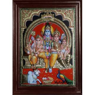 Siva Family Super Emboss Tanjore Painting