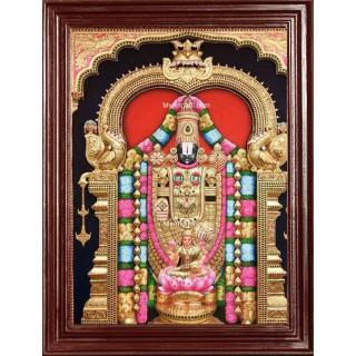 3D Tirupathi Balaji Lakshmi Tanjore Painting