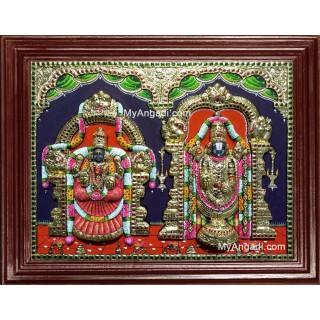 Tirpupati Venkatachalpathi Alamelu Padmavati Thayar Super Emboss 3D Tanjore Painting