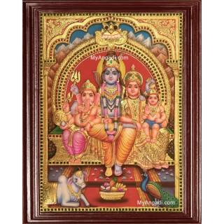 Shiva Family 3D Tanjore Painting