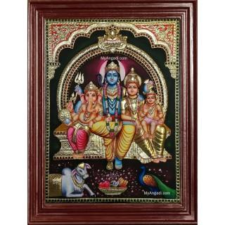 3D Shiva Durbar Tanjore Painting