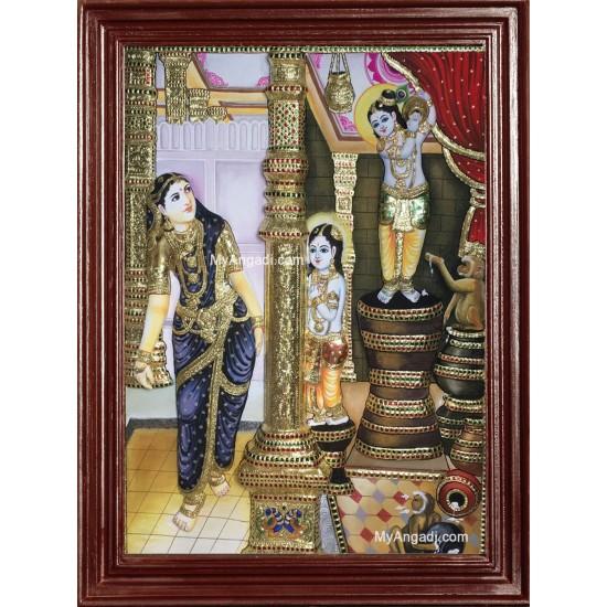 Butter Thief Krishna - Balaram - Yasodha Super Emboss Tanjore Painting