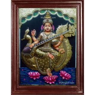 Saraswathi  3D Tanjore Painting