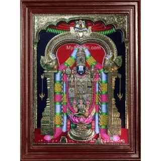 Tirupathi Balaji Lakshmi 3D Tanjore Painting