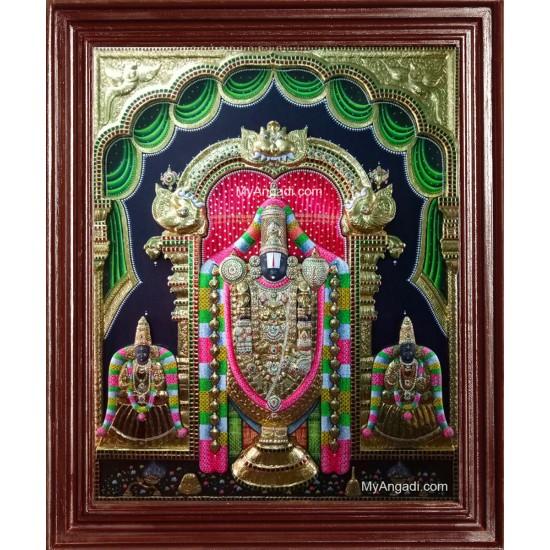 Balaji with Padmavati Thayar and Lakshmi Devi Super Emboss 3D Tanjore Painting