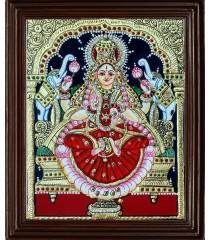 Lakshmi 22 Carat Gold Foil Tanjore Painting with AD stones