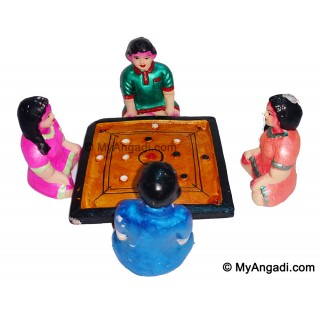 Childrens Playing Carom Board