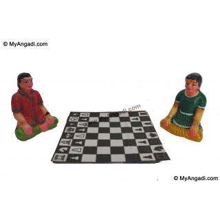 Kids Playing Chess Golu Dolls - 4 inches