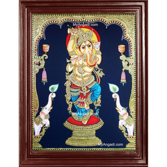 Ganesha with Left Trunk Tanjore Painting