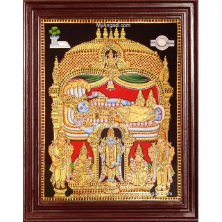 Ranganathar with Sri Devi and Bhu Devi Tanjore Painting