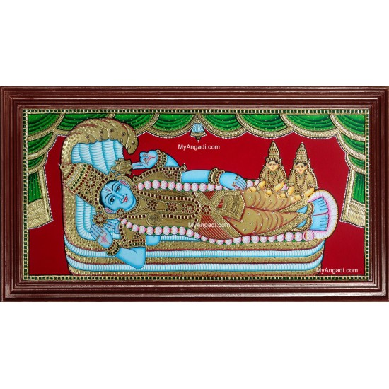Ranganathar with Sri Devi and Boo Devi Tanjore Painting