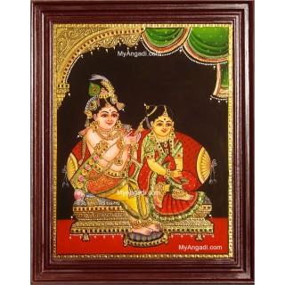 Krishna Combing Radha Hair Tanjore Painting