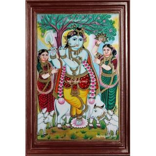 Krishna under Punnai Tree Tanjore Painting