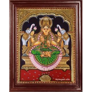 Gaja Laxmi in Green Saree Tanjore Painting