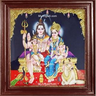 Shiva Parivar Tanjore Painting