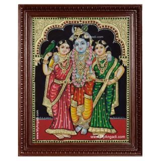 Krishna Bama Rukmani Tanjore Painting