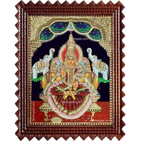 Gaja Lakshmi Semi Embossed Tanjore Painting