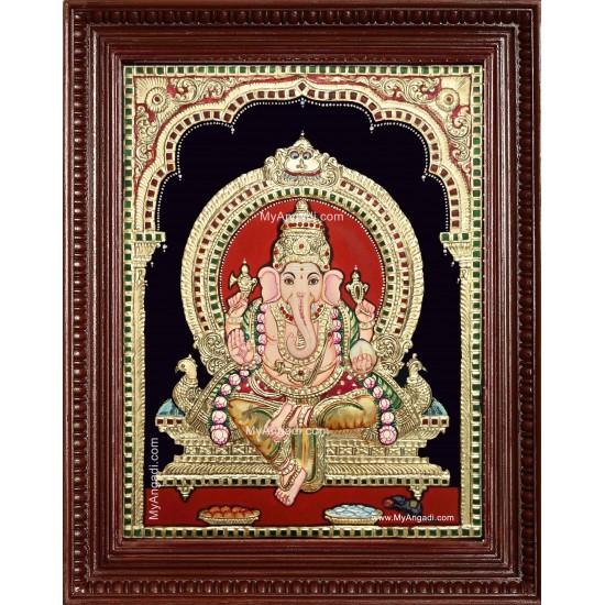 Shri Ganesh Semi Embossed Tanjore Painting