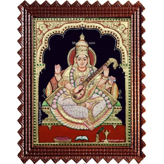 Saraswathi Devi Semi Embossed Tanjore Painting