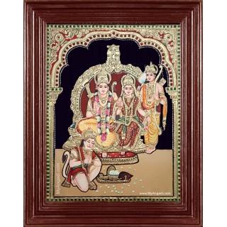 Shri Ramar Sita Devi Lakshmanan Hanuman Semi Embossed Tanjore Painting