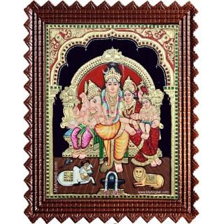 Lord Shiva Parvathi Ganesh Murugan Semi Embossed Tanjore Painting