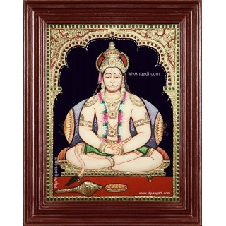 Sri Hanuman Semi Embossed Tanjore Painting