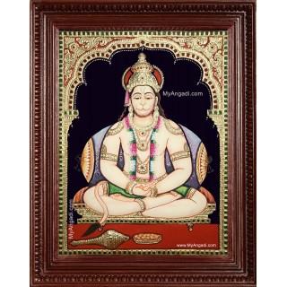 Sri Hanuman Semi Embossed Tanjore Painting