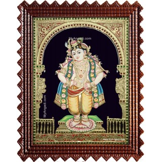 Mapillai Krishna Semi Embossed Tanjore Painting