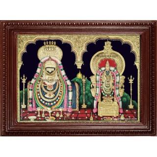 Arunachaleswarar Abhitha Kujambal Embossed Tanjore Painting