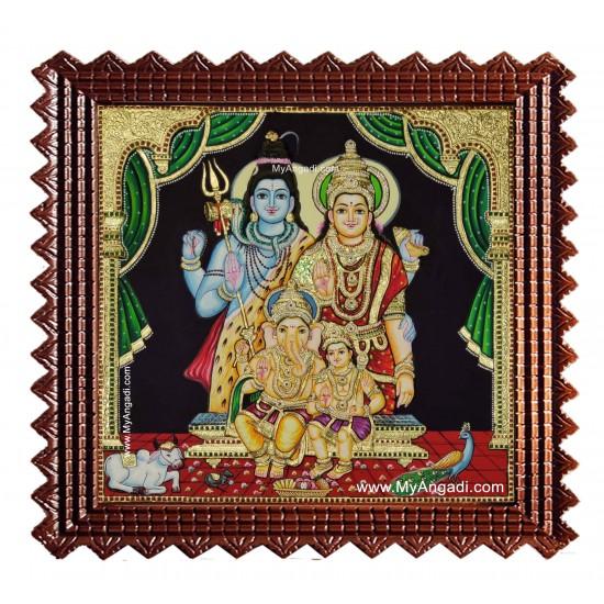 Shiva Parvathi Ganesh Murugan Tanjore Painting