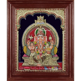 Ganesha 3d Embossed Tanjore Painting
