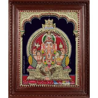 Ganesha 3d Embossed Tanjore Painting