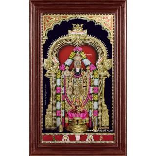 Tirupathi Balaji Lakshmi 3d Embossed Tanjore Painting