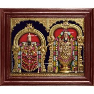 Tirupati Balaji Padmavati Lakshmi 3d Embossed Tanjore Painting