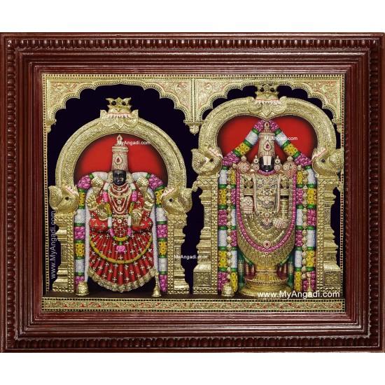 Tirupati Balaji Padmavati Thaayar 3d Embossed Tanjore Painting