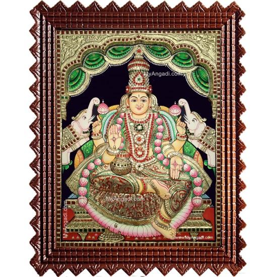 Gaja Lakshmi 3d Embossed Tanjore Painting