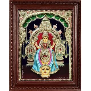 Kollur Mookambika Devi 3d Embossed Tanjore Painting