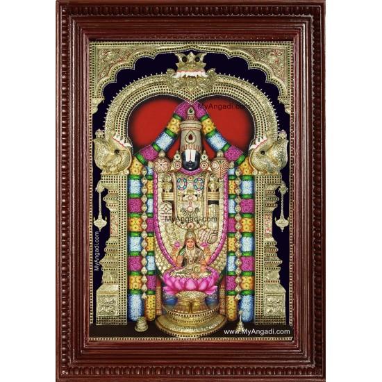 Tirumalai Srinivasan Lakshmi 3d Embossed Tanjore Painting