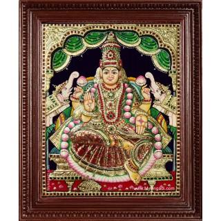 Shri Gaja Lakshmi 3d Embossed Tanjore Painting