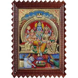 Shiva Parvathi Ganesha Murugan 3d Embossed Tanjore Painting