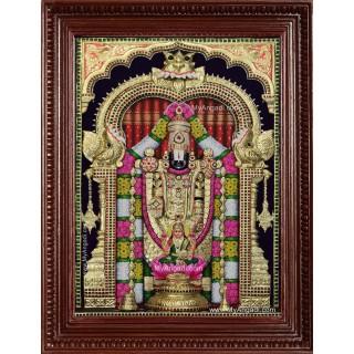 Thirupathi Balaji Perumal Lakshmi 3d Embossed Tanjore Painting