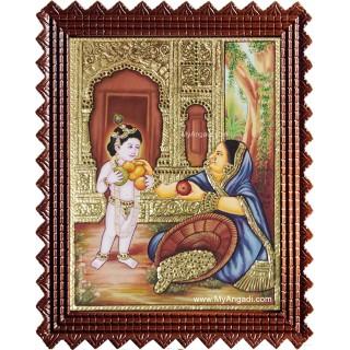 Krishna Buying Fruits Tanjore Painting