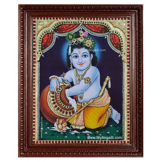 Krishna Butter Pot Tanjore Painting